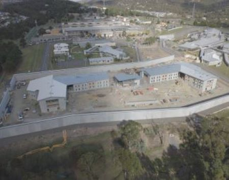 Aerial photograph of the Southern Remand Centre construction