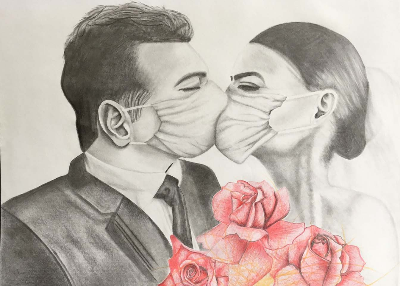 Masked people kissing
